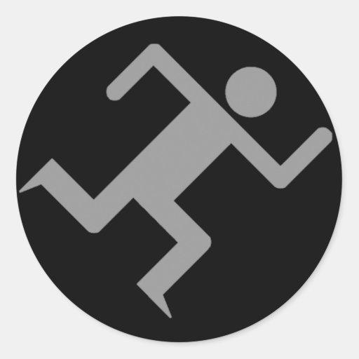 Running Man Dark Round Sticker   Zazzle
