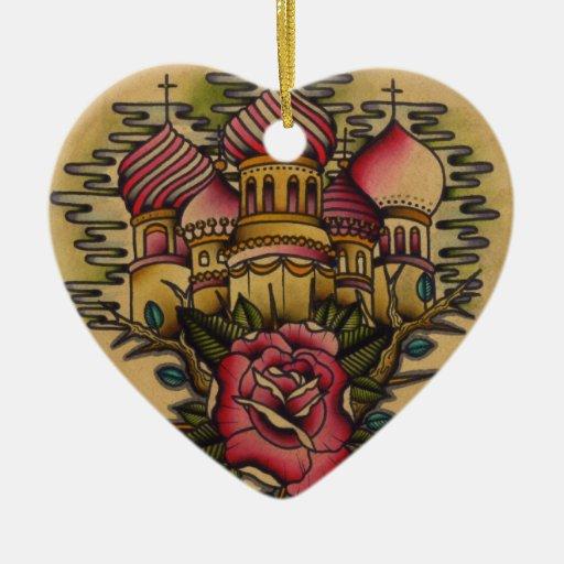 Painting Church In Snow Religious Christmas Ceramic: Russian Church Ceramic Ornament