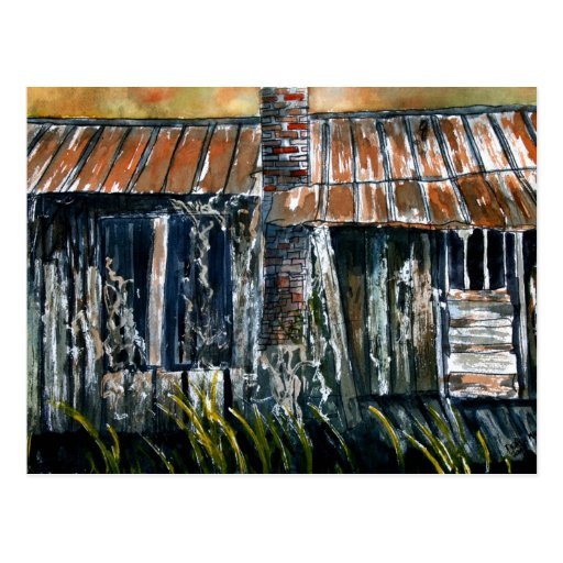 Rusted Tin Roof Old Barn House Painting Folk Art Postcard