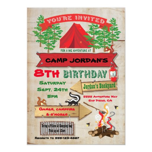 Camping Theme Invitations: Rustic Adventure Camping Birthday Party Invitation