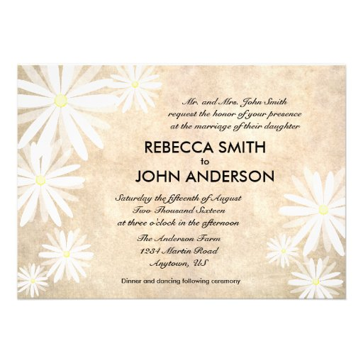 White Daisy Wedding Invitation: Rustic Background With White Daisies Wedding Personalized