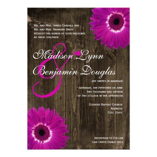 "Purple Rustic Wedding Invitations: Rustic Barn Wood Purple Daisy Wedding Invitations 4.5"" X 6"
