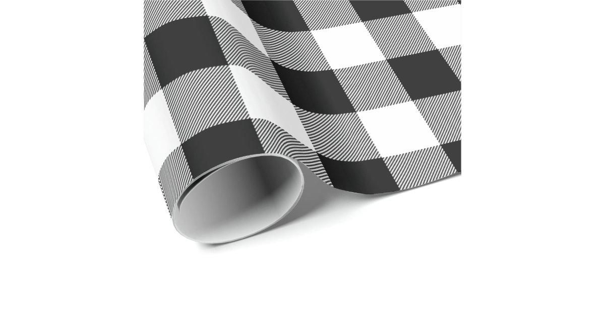 Rustic Black And White Buffalo Check Wrapping Paper Zazzle