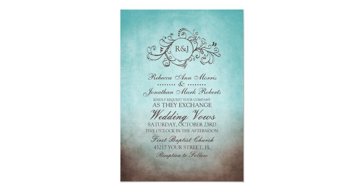 Brown And Teal Wedding Ideas: Rustic Brown And Teal Bohemian Wedding Invitation