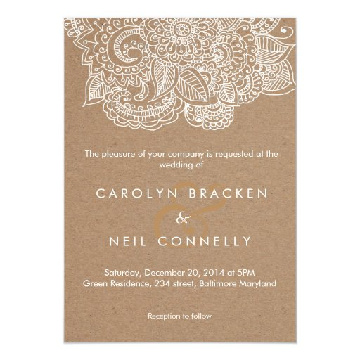Rustic Brown White Paisley Pattern Floral Wedding 5x7