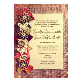 Fall Wedding Invitations with autumn leaves and fall colors.  Discount Sale Prices Save 40% OFF when you order 100 or more invites.