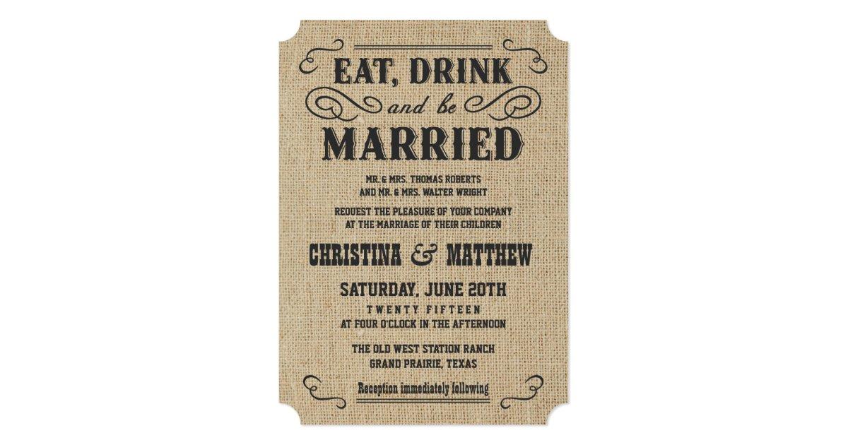 Rustic Western Wedding Invitations: Rustic Burlap Country Western Wedding Invitations