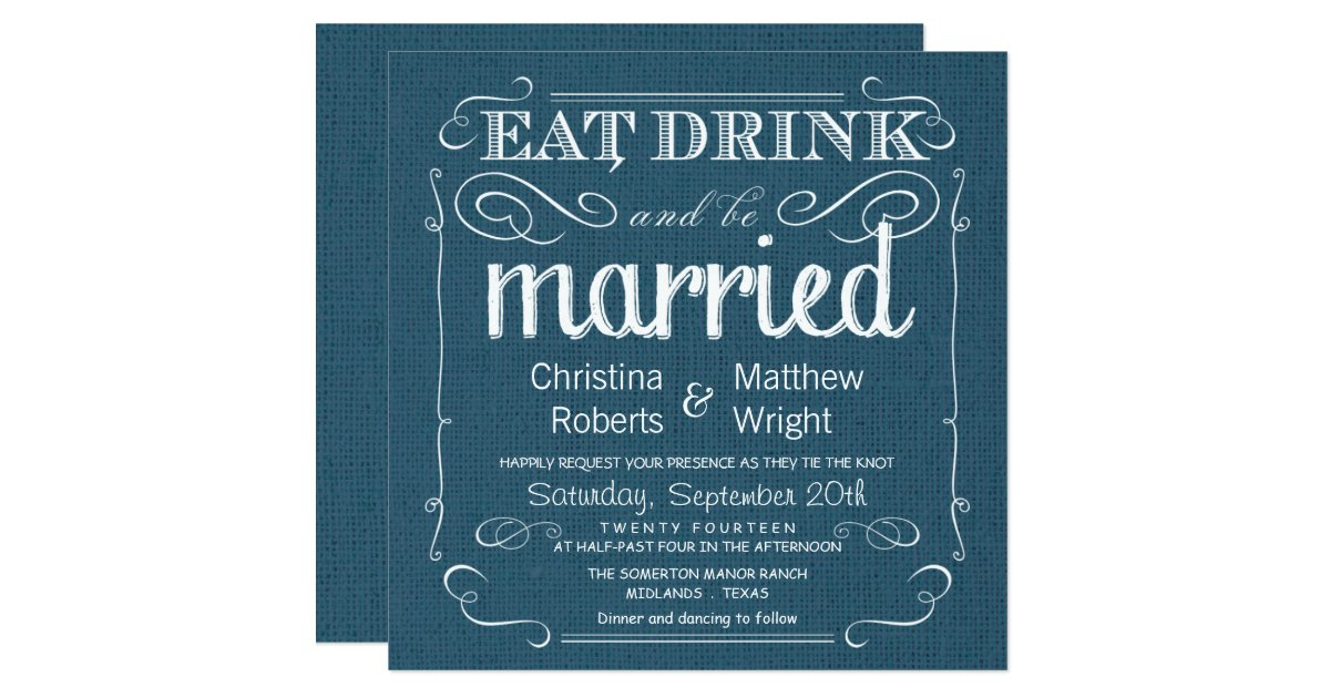 Denim Wedding Invitations: Rustic Burlap Denim Blue Wedding Invitations