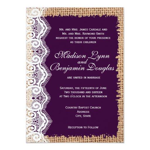 Dark Purple Wedding Invitations: Rustic Burlap Lace Dark Purple Wedding Invitations