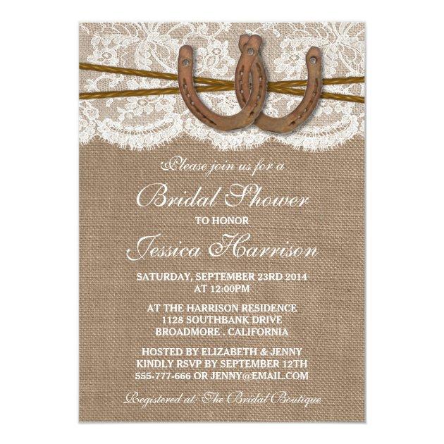 Rustic Burlap & Lace Horseshoe Bridal Shower 5x7 Paper Invitation Card