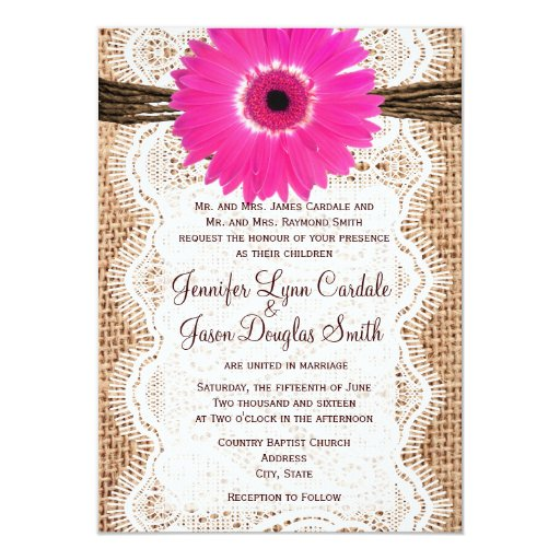 Rustic Daisy Wedding Invitations: Rustic Burlap Lace Hot Pink Daisy Wedding Invites