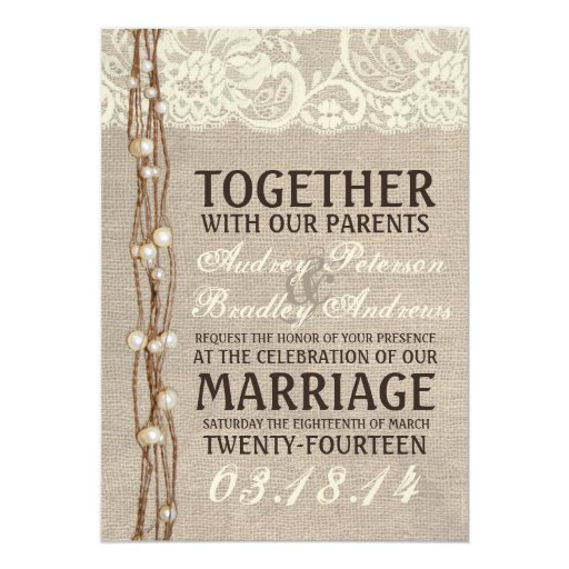 Burlap Invitations Wedding: Rustic Burlap Lace Pearly Twine Wedding Invitation