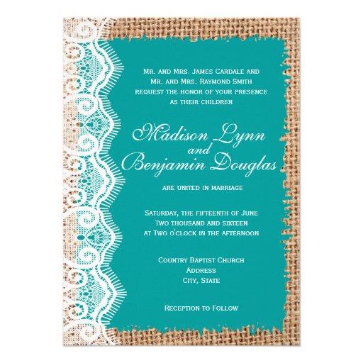 Wedding Invitations Turquoise: Rustic Burlap Lace Turquoise Wedding Invitations