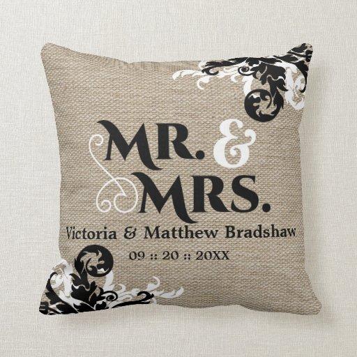 Rustic Burlap Look Mr And Mrs Wedding Pillow Zazzle