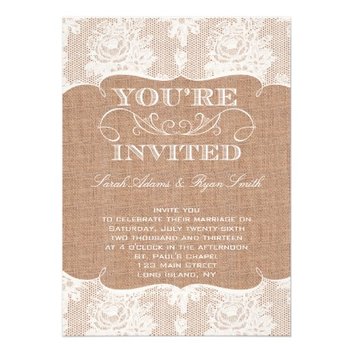 Rustic Burlap Print & Lace Wedding Invitation