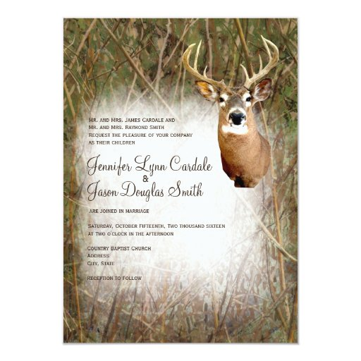 Camo Wedding Ideas Rustic Barn: Rustic Camo Hunting Deer Antlers Wedding Invites