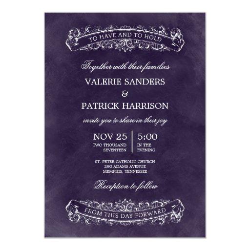 Purple Rustic Wedding Invitations: Rustic Chic Wedding Invitation - Purple