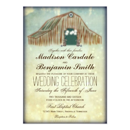 Rustic Country Barn Wedding Invitations   Zazzle