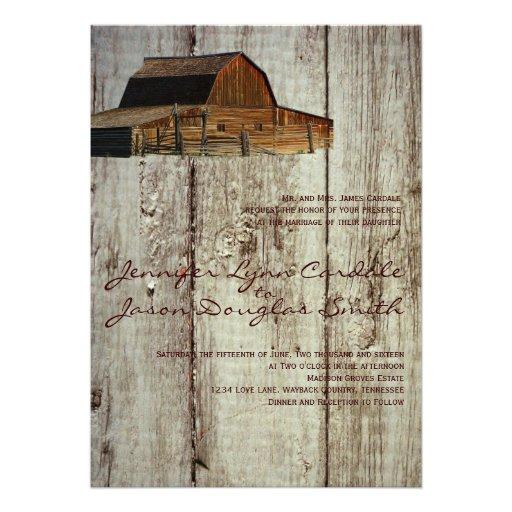 "Country Rustic Barn Weddings: Rustic Country Barn Wood Wedding Invitations 5"" X 7"