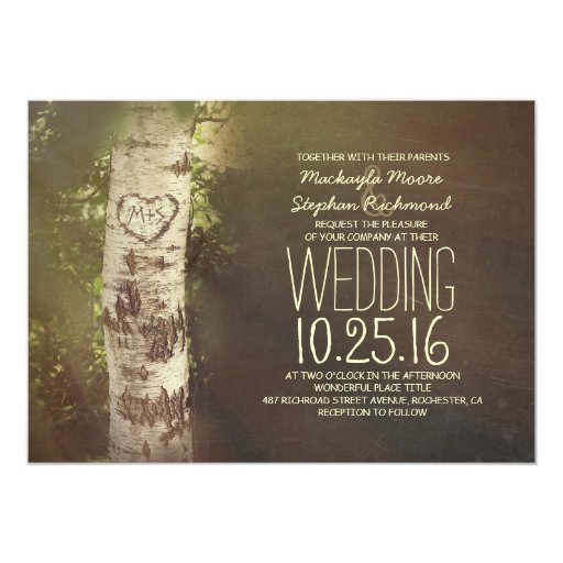 Wedding Invitation Tree: Rustic Country Birch Tree Wedding Invitations