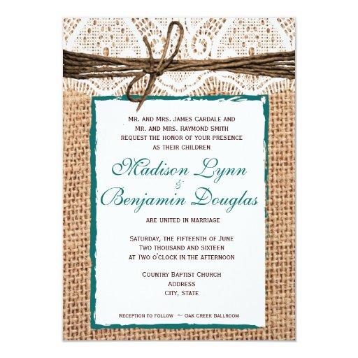 Burlap Invitations Wedding: Rustic Country Burlap Lace Teal Wedding Invitation