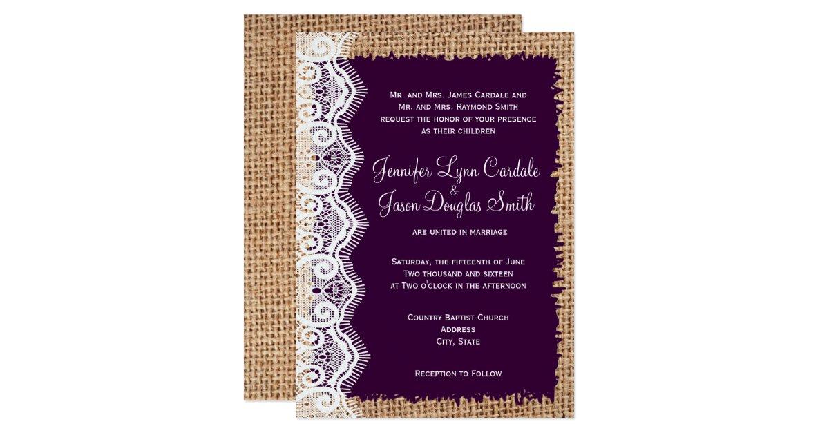 Purple Rustic Wedding Invitations: Rustic Country Burlap Purple Wedding Invitations