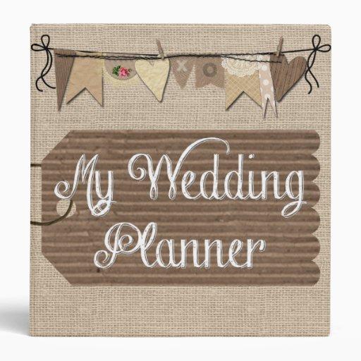 Printable Wedding Planner Binder Planning A Rustic: Rustic Country Burlap Wedding Planner Binder