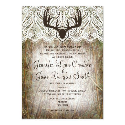 Country Camo Wedding Ideas: Rustic Country Camo Hunting Antlers Wedding Invite