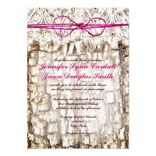 "Camo Wedding Invitation: Rustic Country Camo Pink Bow Wedding Invitations 4.5"" X 6"
