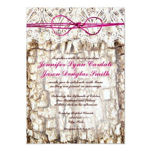Camo Outdoor Wedding Ideas: Rustic Country Camo Pink Bow Wedding Invitations