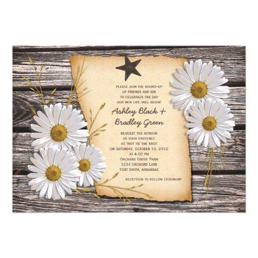 "White Daisy Wedding Invitation: Rustic Country Daisy Wedding Invitation 5"" X 7"" Invitation"