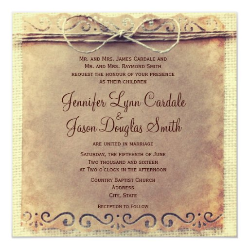 Cheap Country Wedding Invitations: Rustic Country Distressed Vintage Wedding Invites