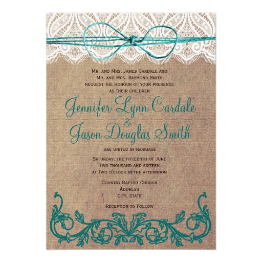 """Rustic Country Lace Brown Teal Wedding Invitations 5"""" X 7"""