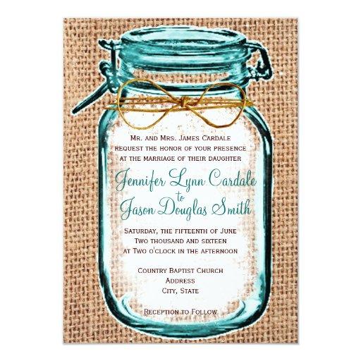 Wedding Invitations Mason Jar: Rustic Country Mason Jar Burlap Wedding Invitation