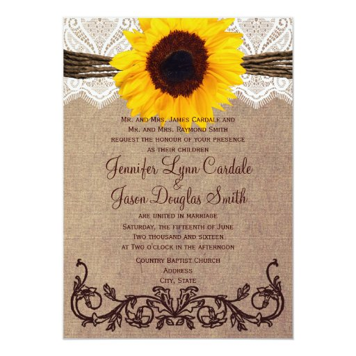 Cheap Country Wedding Invitations: Rustic Country Sunflower Wedding Invitations