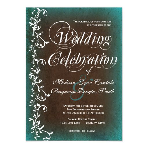 Rustic Country Turquoise Brown Wedding Invitations | Zazzle