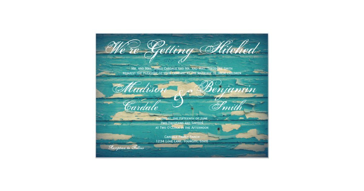 Wedding Invitations Turquoise: Rustic Country Turquoise Wood Wedding Invitations