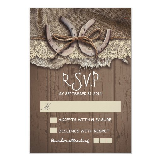 "Rustic Country Wedding RSVP Cards 3.5"" X 5"" Invitation"