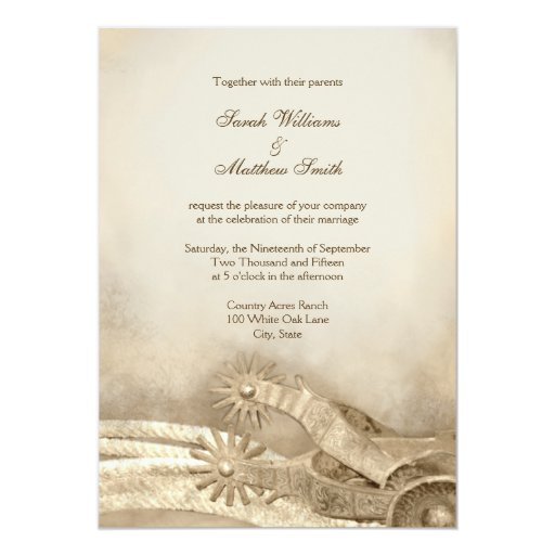 Country Wedding Invitation Templates: Rustic Country Western Wedding Invitations