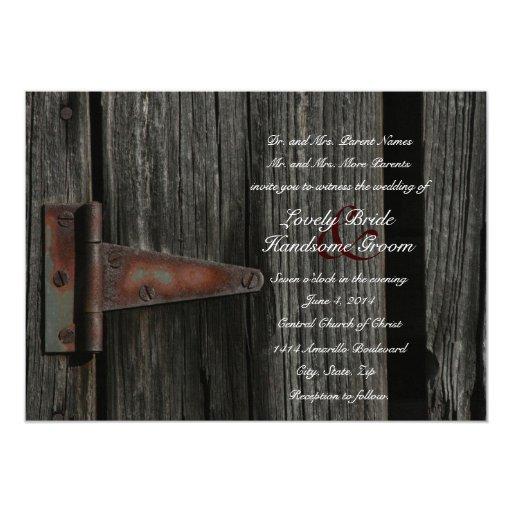 Rustic Door Wedding Ideas: Rustic Country Wood Barn Door Wedding Invitation
