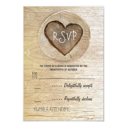 """Rsvp Cards For Wedding Invitations: Rustic Country Wood Heart Wedding RSVP Cards 3.5"""" X 5"""