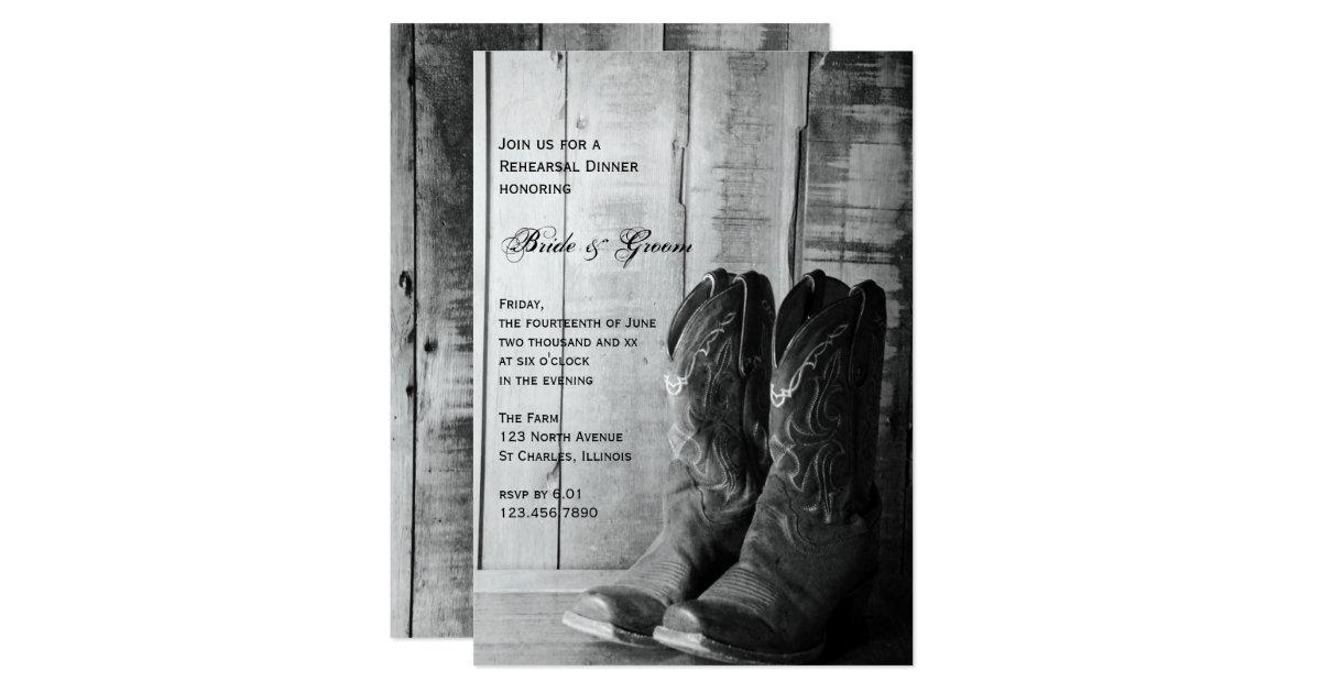 Cowboy Boot Wedding Invitations: Rustic Cowboy Boots Wedding Rehearsal Dinner Card