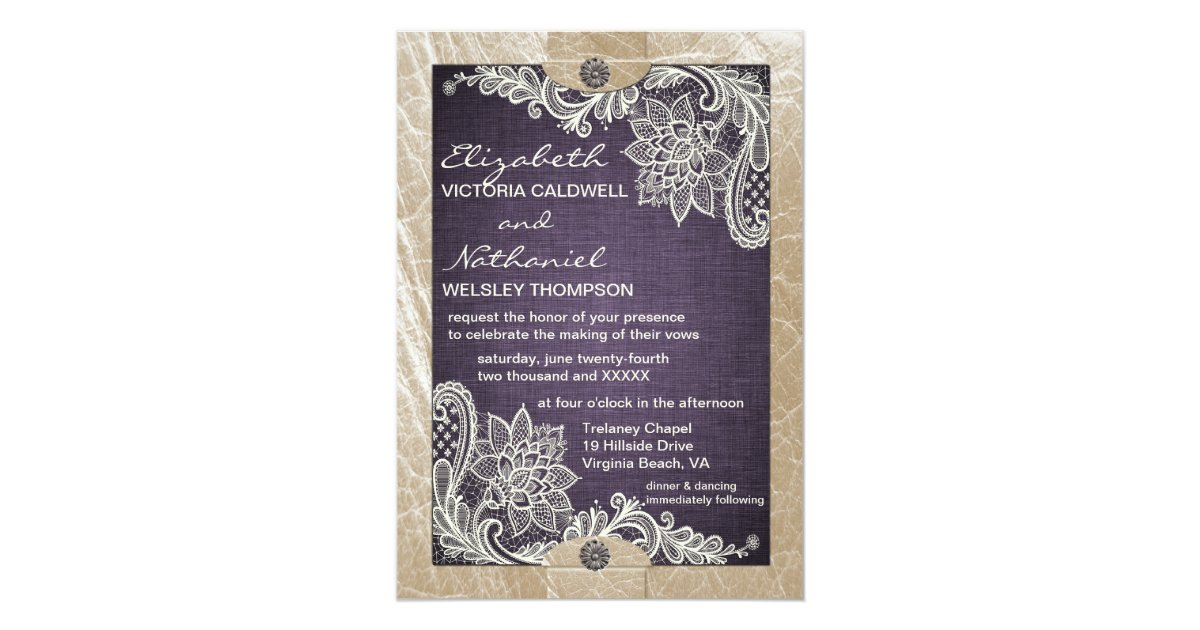 Denim Wedding Invitations: Rustic Denim Lace & Leather Wedding Invitation