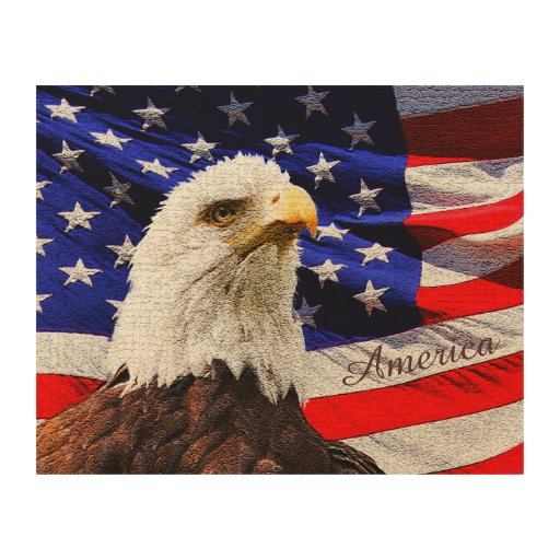 Rustic Eagle And American Flag Wooden Wall Art