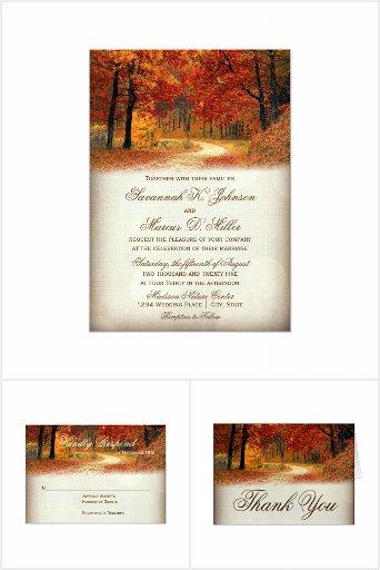 Rustic Fall Leaves Autumn Wedding Invitation Set