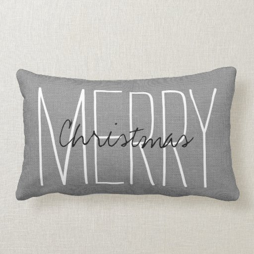 Rustic Gray Merry Christmas Lumbar Pillow Zazzle