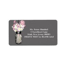 Rustic Hanging Mason Jar Wedding Personalized Address Label