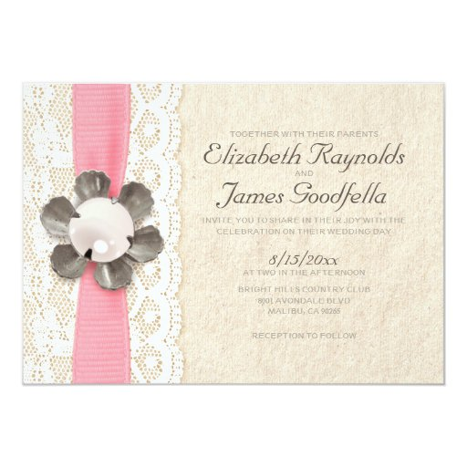 Pearl And Lace Wedding Invitations: Rustic Lace And Pearls Wedding Invitations