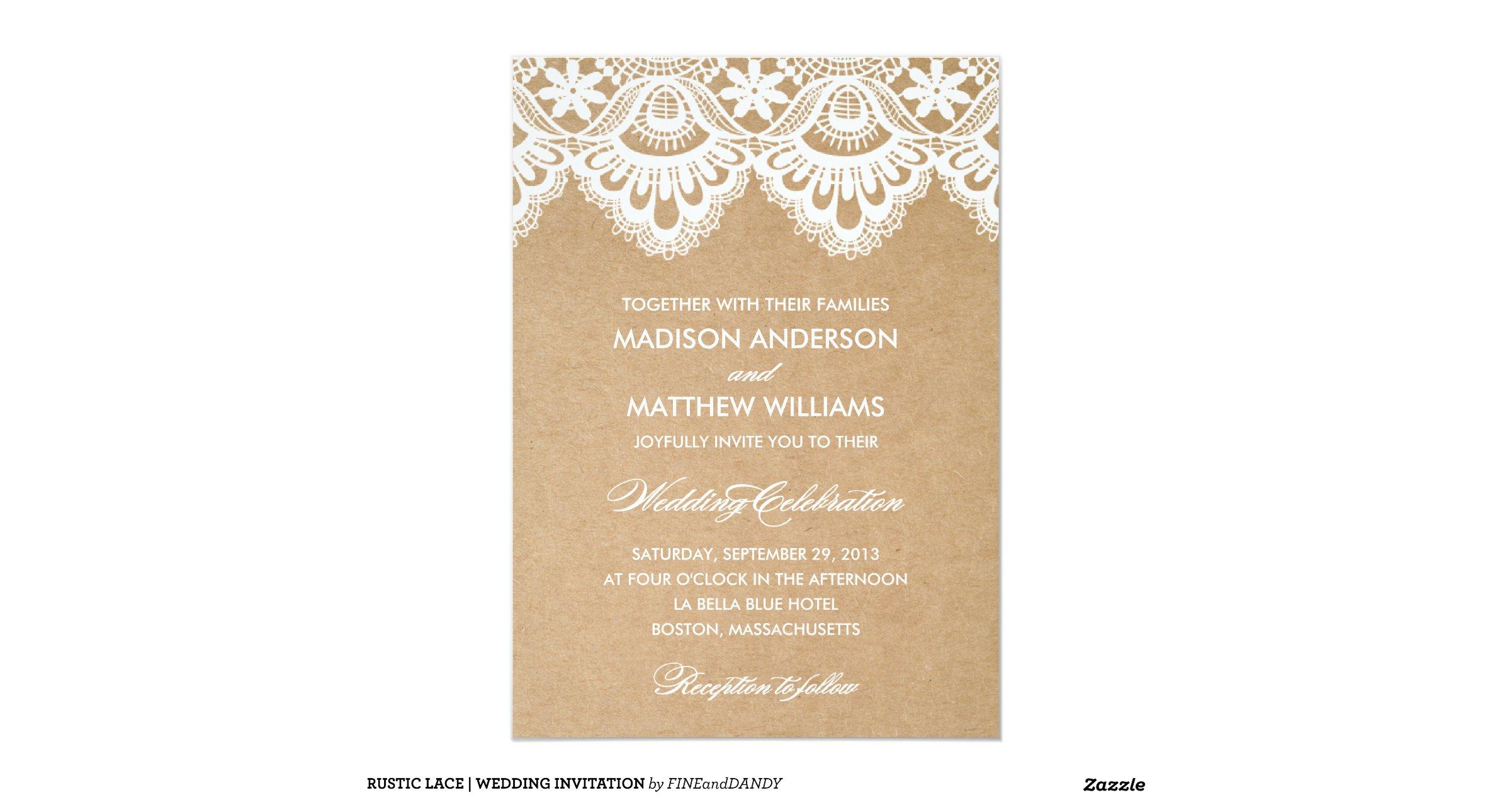 Rustic Wedding Reception Invitations: Rustic_lace_wedding_invitation