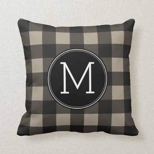 Linen Monogram Throw Pillow: Rustic Linen Black Buffalo Plaid Gingham Monogram Throw